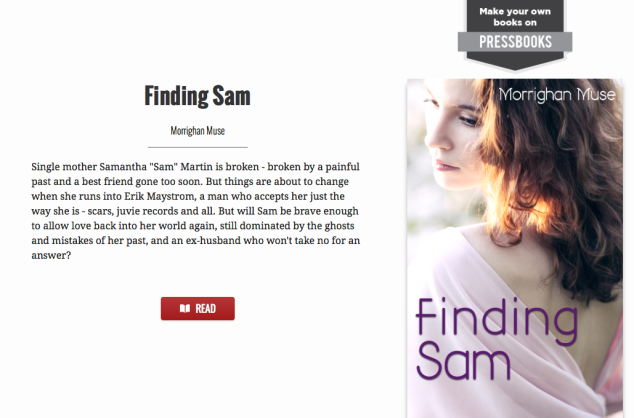 Finding Sam front page on Pressbooks