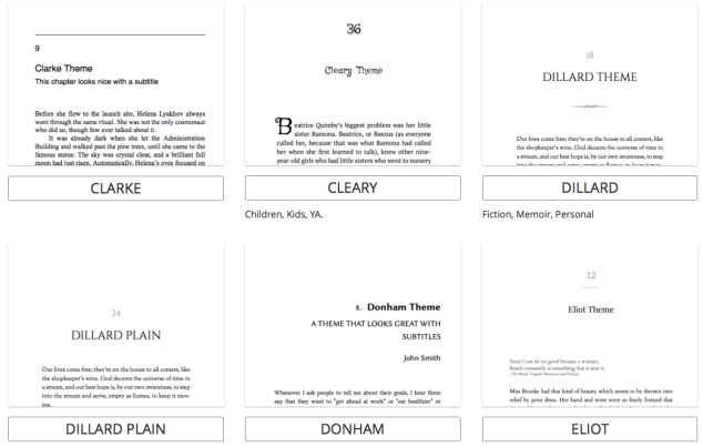 Just some of the different themes you can choose from Pressbooks